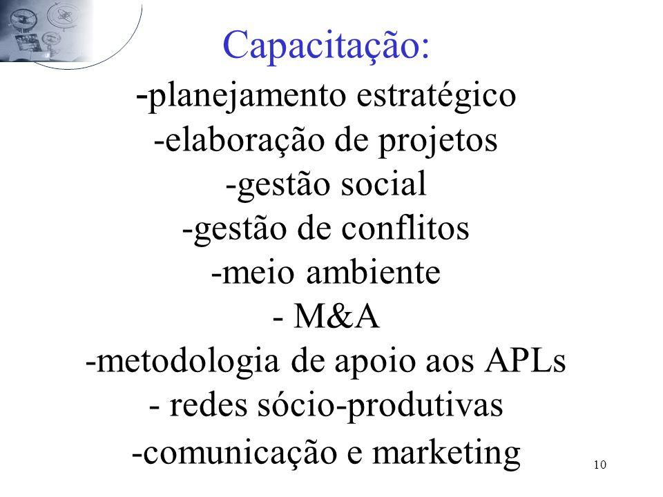 Capacitação: -planejamento estratégico -elaboração de projetos -gestão social -gestão de conflitos -meio ambiente - M&A -metodologia de apoio aos APLs - redes sócio-produtivas -comunicação e marketing
