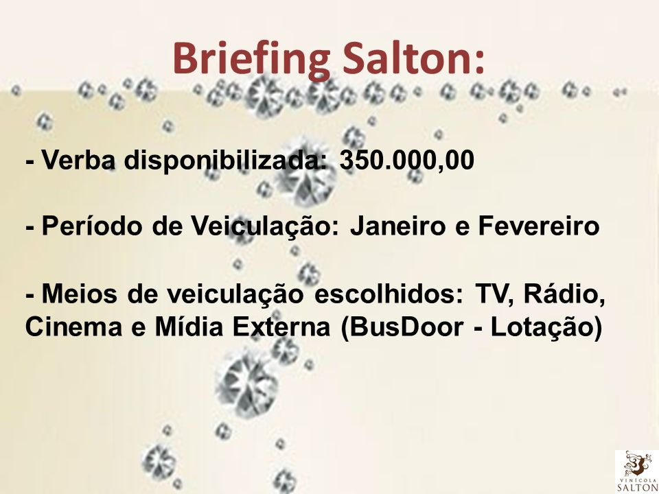 Briefing Salton: - Verba disponibilizada: 350.000,00