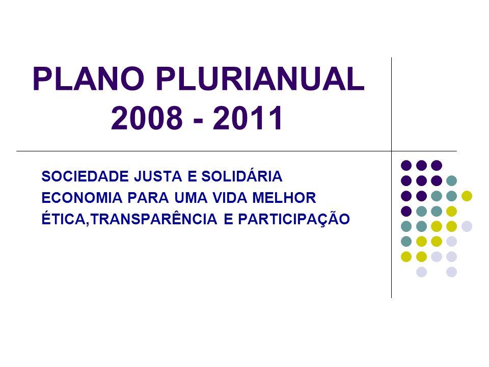 PLANO PLURIANUAL 2008 - 2011 SOCIEDADE JUSTA E SOLIDÁRIA