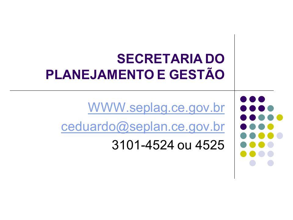SECRETARIA DO PLANEJAMENTO E GESTÃO