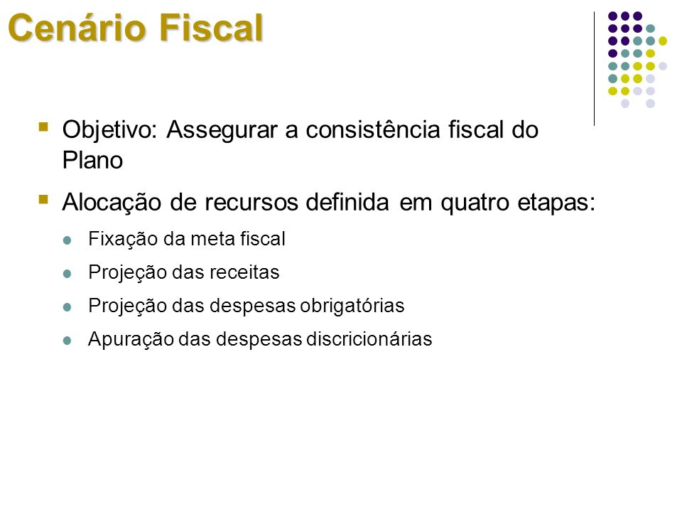 Cenário Fiscal Objetivo: Assegurar a consistência fiscal do Plano