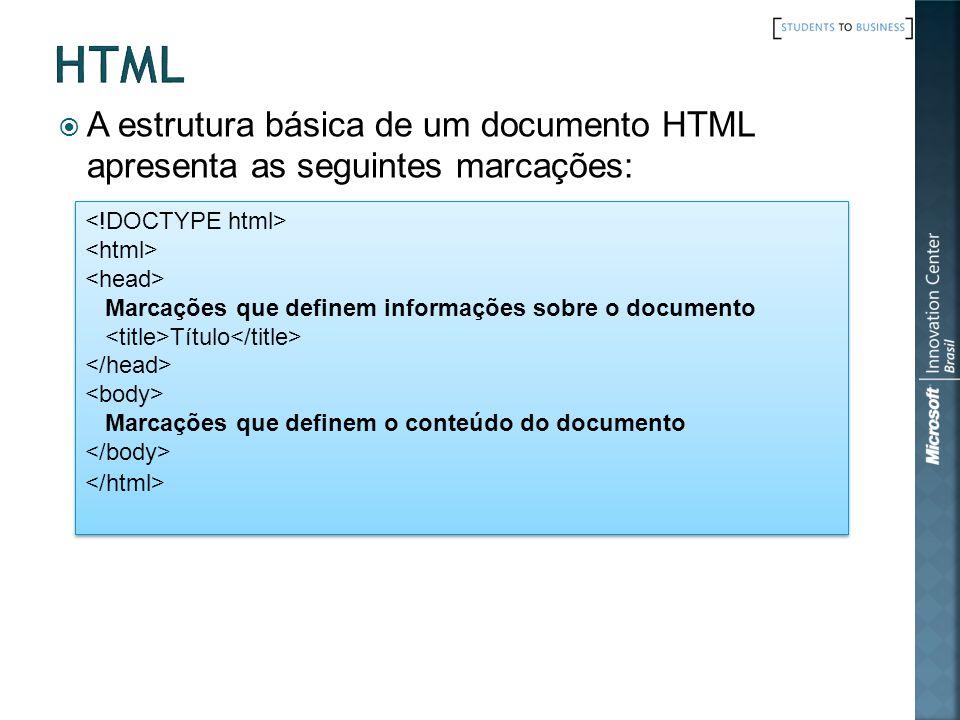 html A estrutura básica de um documento HTML apresenta as seguintes marcações: <!DOCTYPE html> <html>
