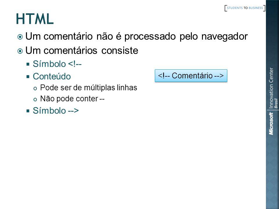 html Um comentário não é processado pelo navegador
