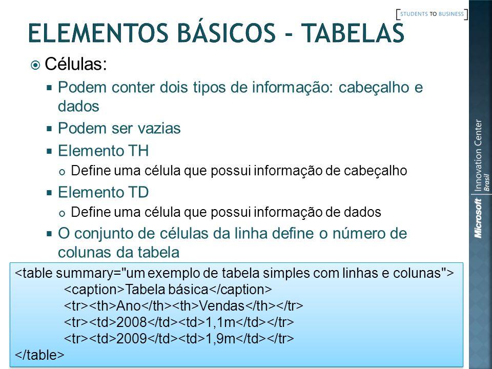 Elementos Básicos - Tabelas