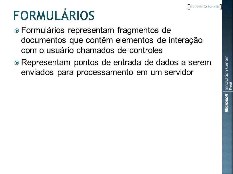 Formulários Formulários representam fragmentos de documentos que contêm elementos de interação com o usuário chamados de controles.
