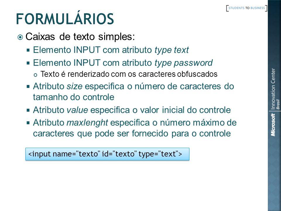 Formulários Caixas de texto simples: