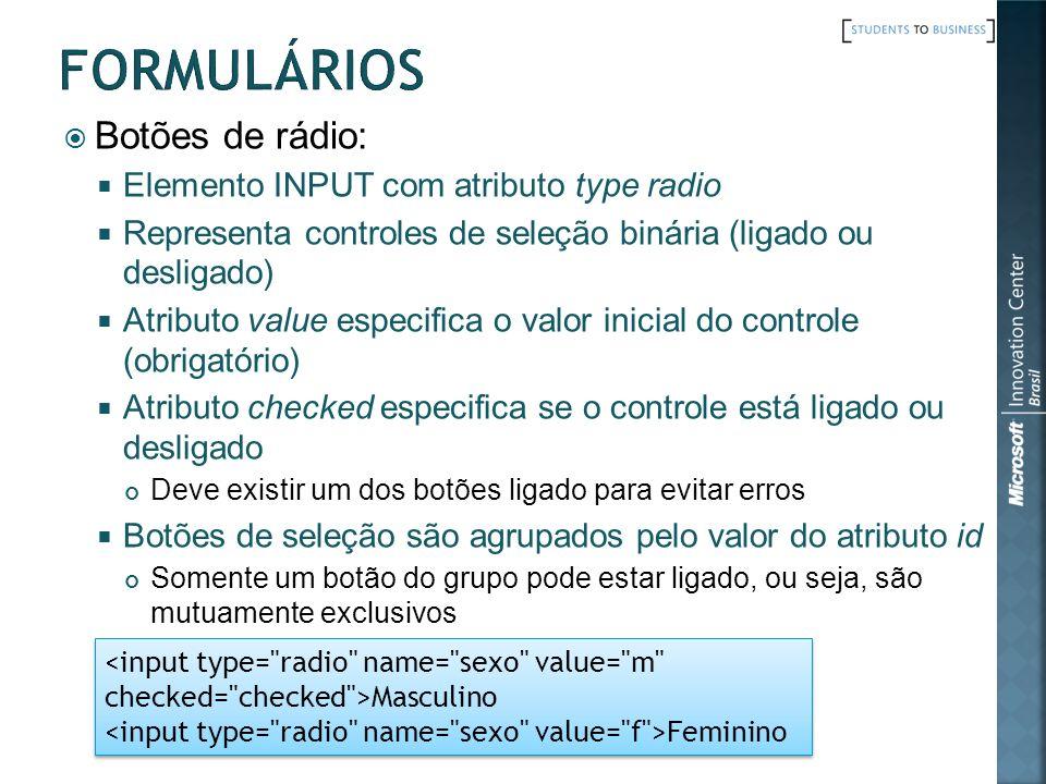 Formulários Botões de rádio: Elemento INPUT com atributo type radio