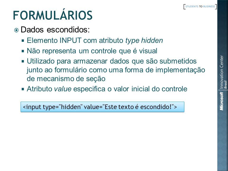 Formulários Dados escondidos: Elemento INPUT com atributo type hidden
