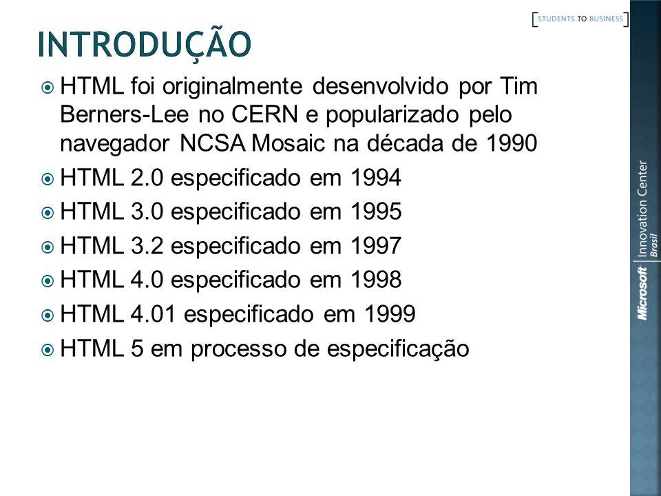 Introdução HTML foi originalmente desenvolvido por Tim Berners-Lee no CERN e popularizado pelo navegador NCSA Mosaic na década de 1990.