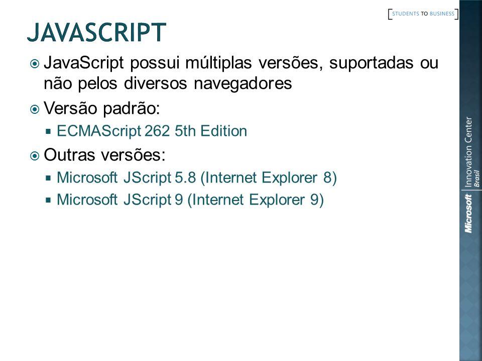 javascript JavaScript possui múltiplas versões, suportadas ou não pelos diversos navegadores. Versão padrão: