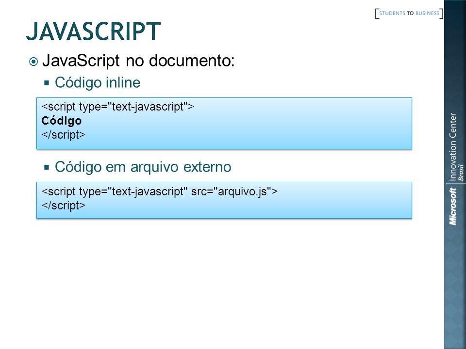 javascript JavaScript no documento: Código inline