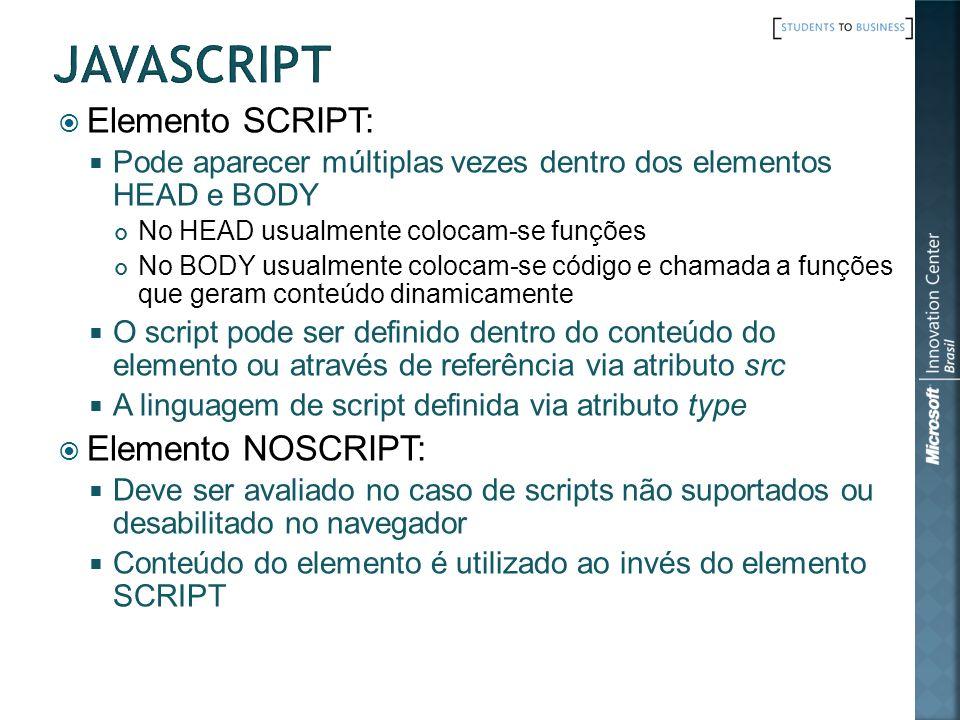 javascript Elemento SCRIPT: Elemento NOSCRIPT: