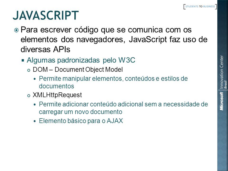 javascript Para escrever código que se comunica com os elementos dos navegadores, JavaScript faz uso de diversas APIs.