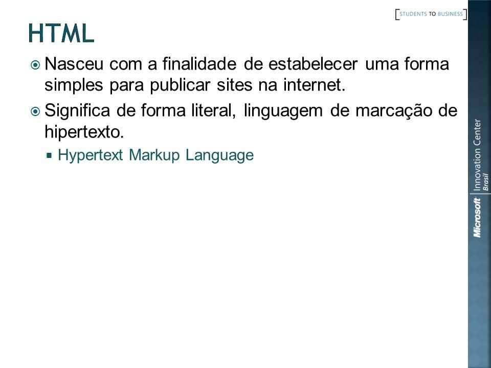 HTML Nasceu com a finalidade de estabelecer uma forma simples para publicar sites na internet.
