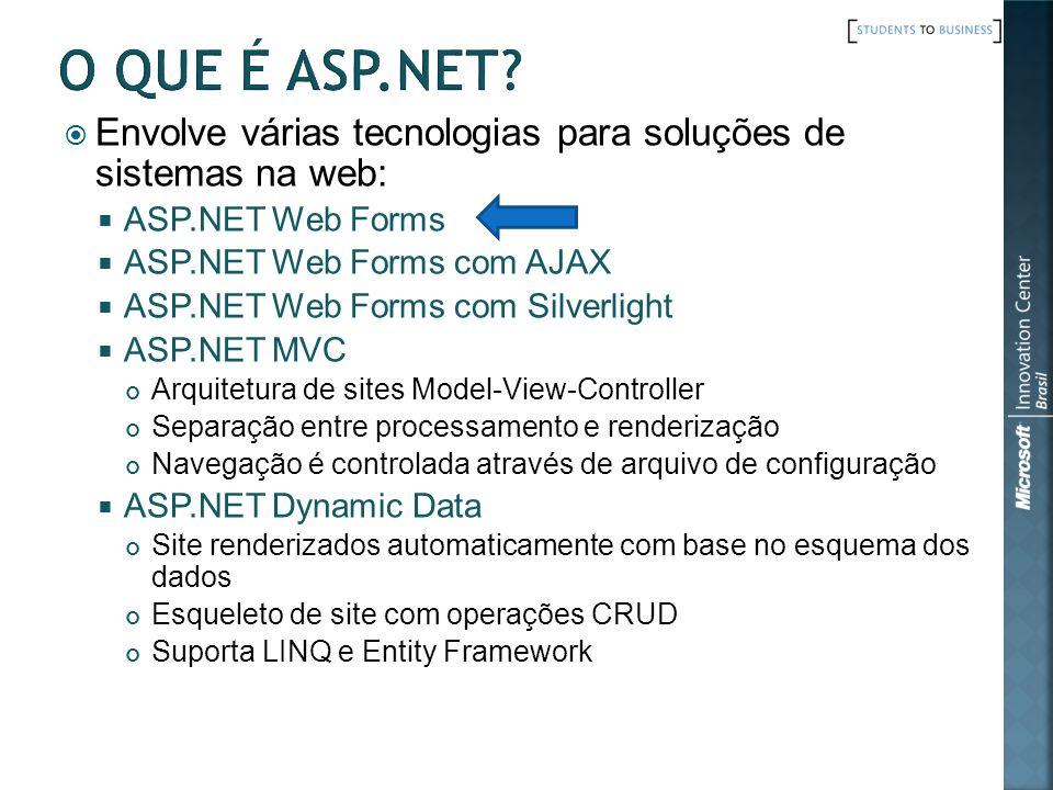 O que é ASP.Net Envolve várias tecnologias para soluções de sistemas na web: ASP.NET Web Forms. ASP.NET Web Forms com AJAX.