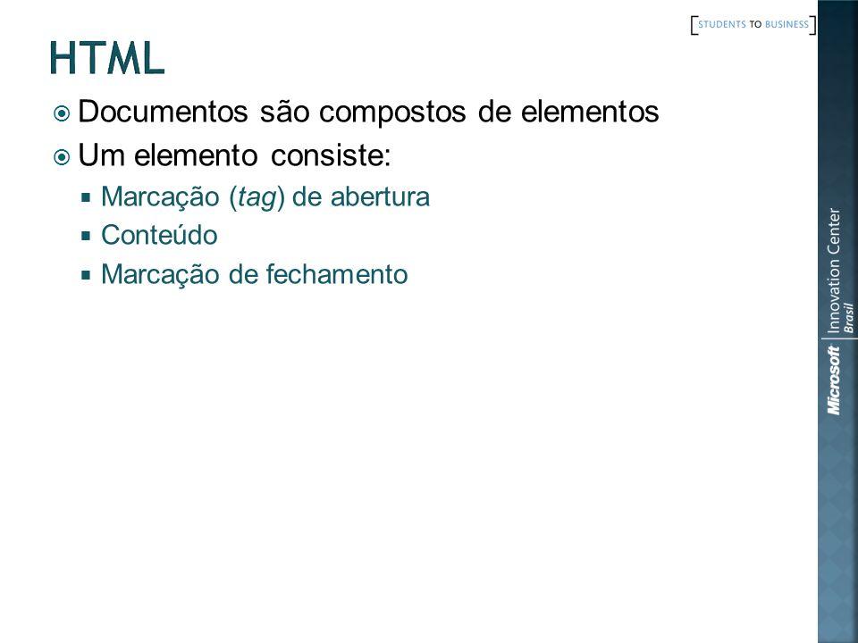 html Documentos são compostos de elementos Um elemento consiste: