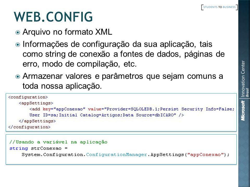 Web.config Arquivo no formato XML