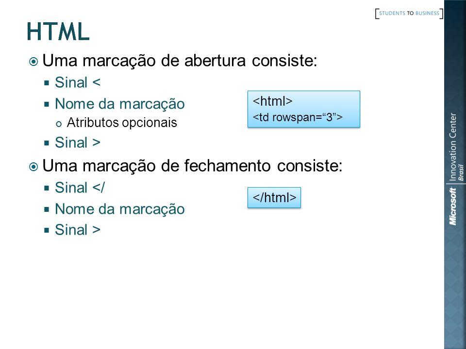 html Uma marcação de abertura consiste: