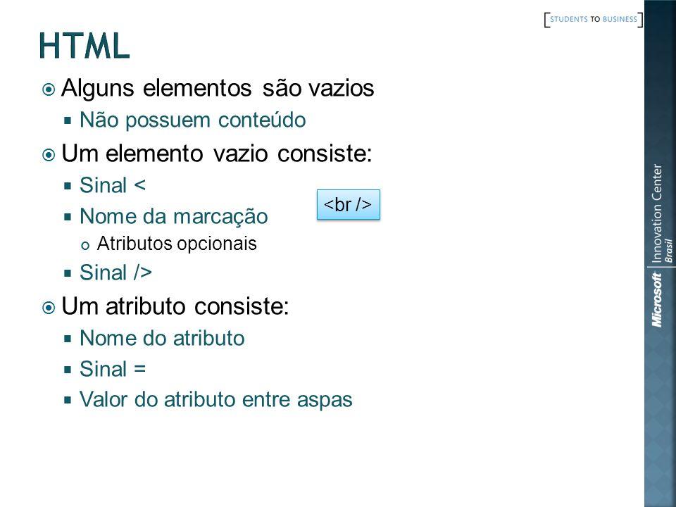 html Alguns elementos são vazios Um elemento vazio consiste: