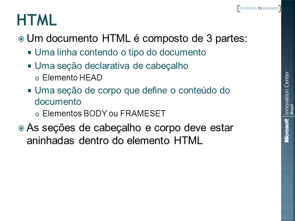 html Um documento HTML é composto de 3 partes: