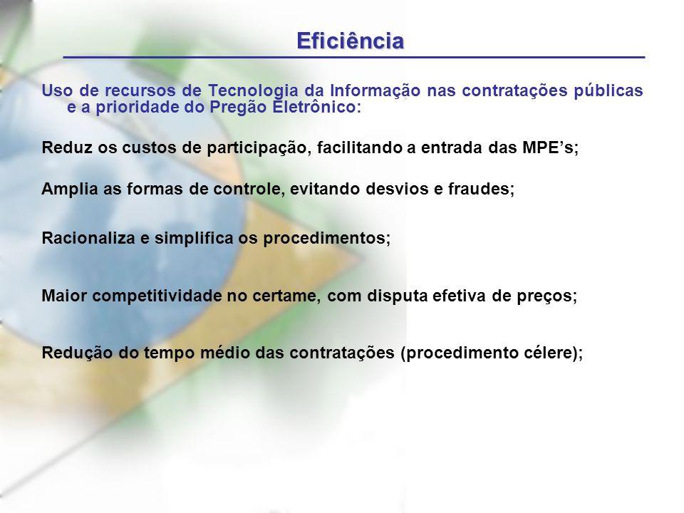 Eficiência Uso de recursos de Tecnologia da Informação nas contratações públicas e a prioridade do Pregão Eletrônico: