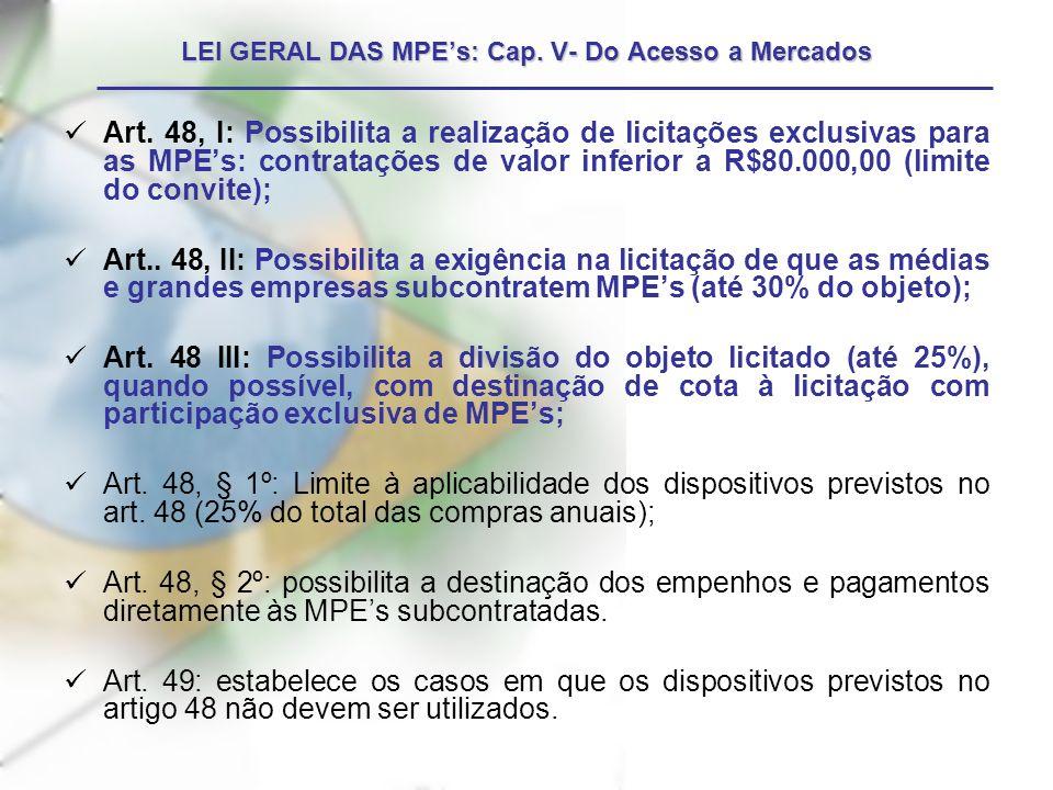 LEI GERAL DAS MPE's: Cap. V- Do Acesso a Mercados