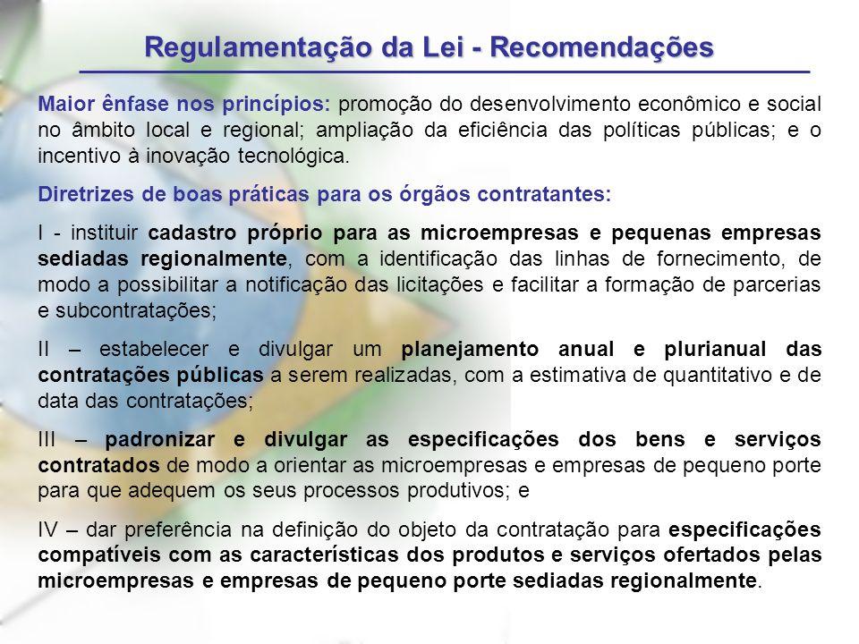 Regulamentação da Lei - Recomendações