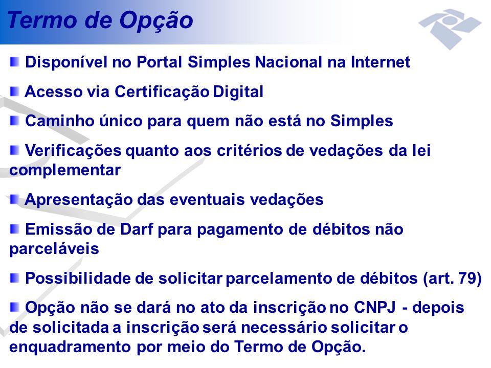Termo de Opção Disponível no Portal Simples Nacional na Internet
