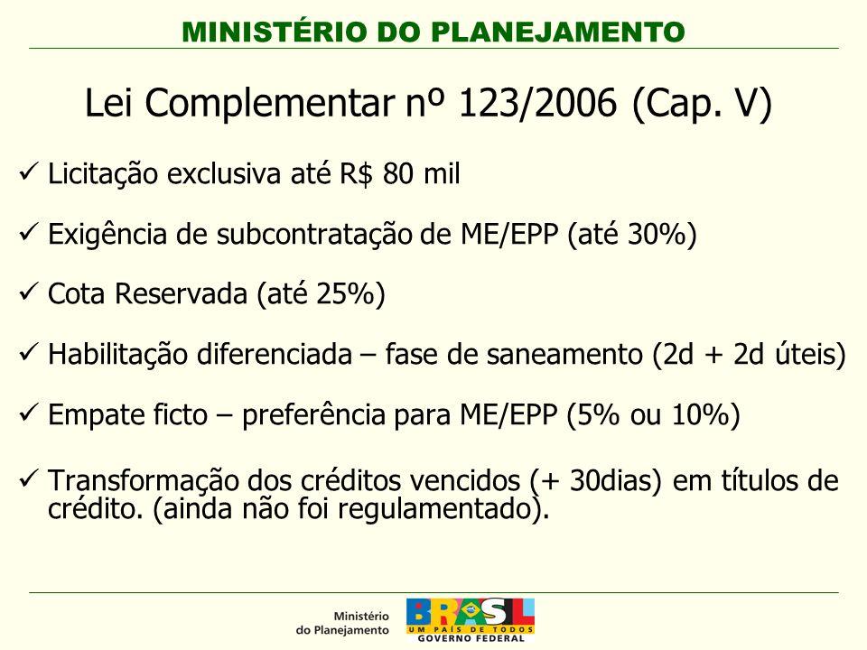 Lei Complementar nº 123/2006 (Cap. V)
