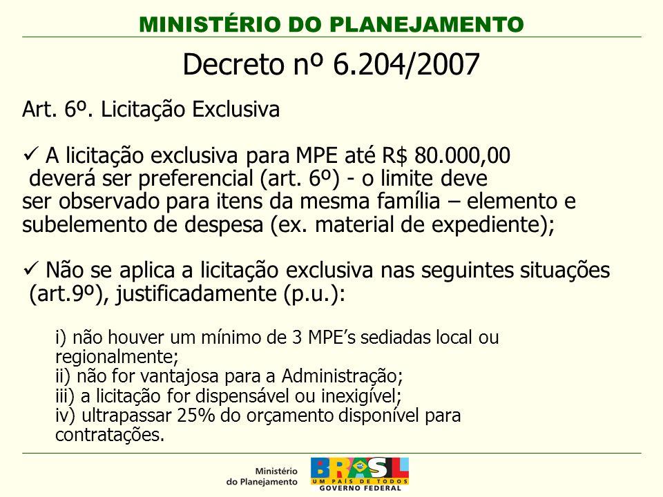 Decreto nº 6.204/2007 Art. 6º. Licitação Exclusiva