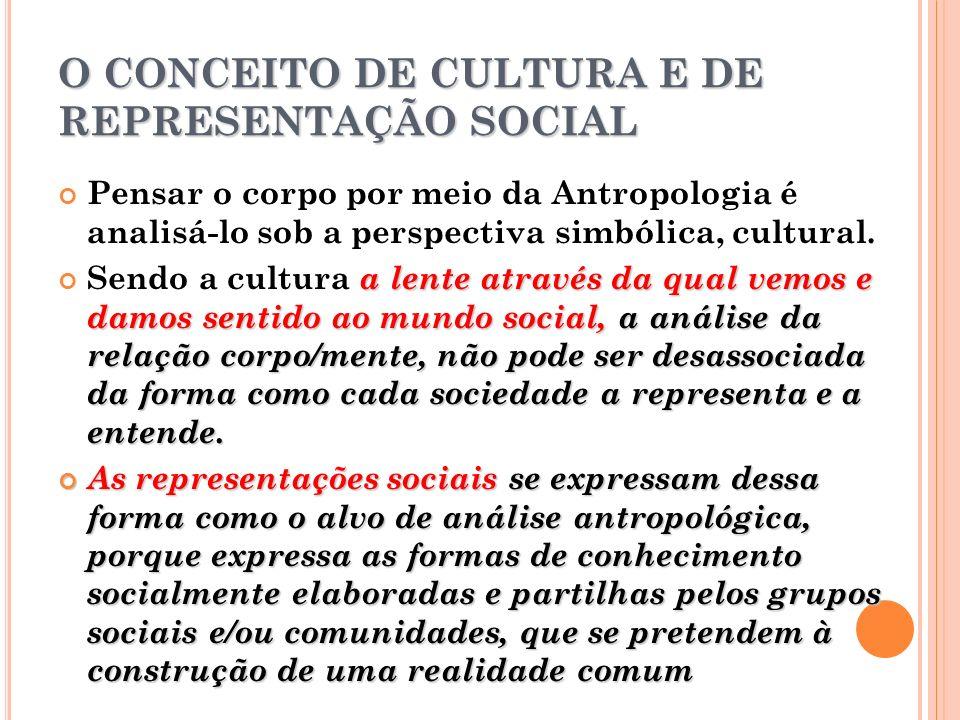 O CONCEITO DE CULTURA E DE REPRESENTAÇÃO SOCIAL