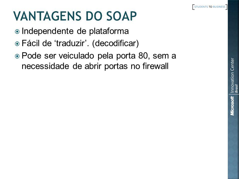 Vantagens do SOAP Independente de plataforma