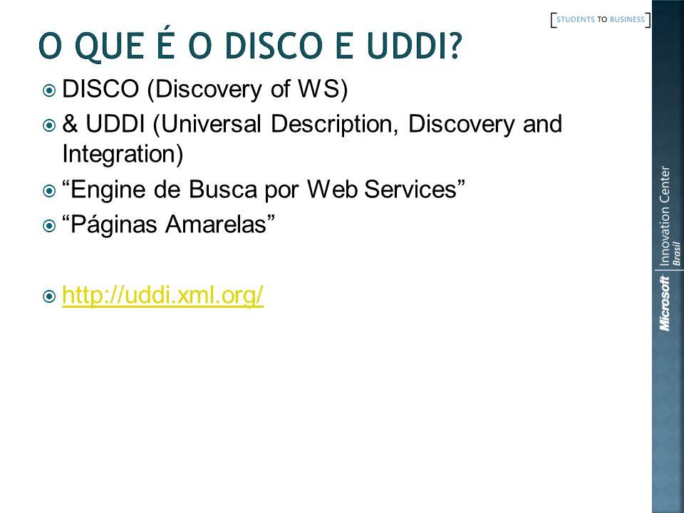 O que é o DISCO e UDDI DISCO (Discovery of WS)