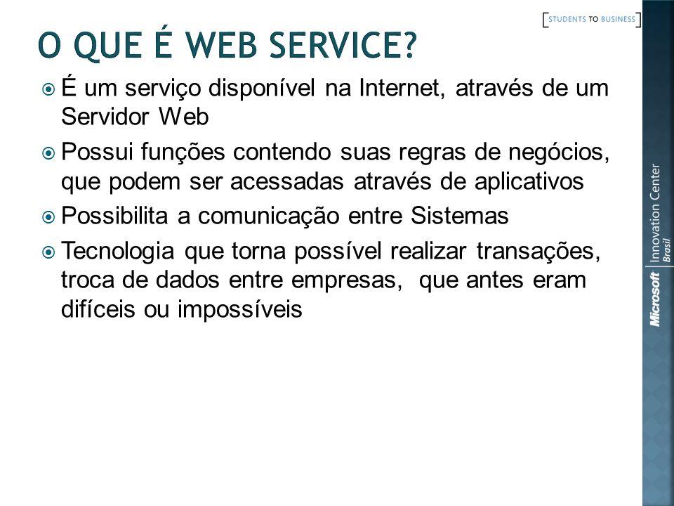 O que é Web Service É um serviço disponível na Internet, através de um Servidor Web.