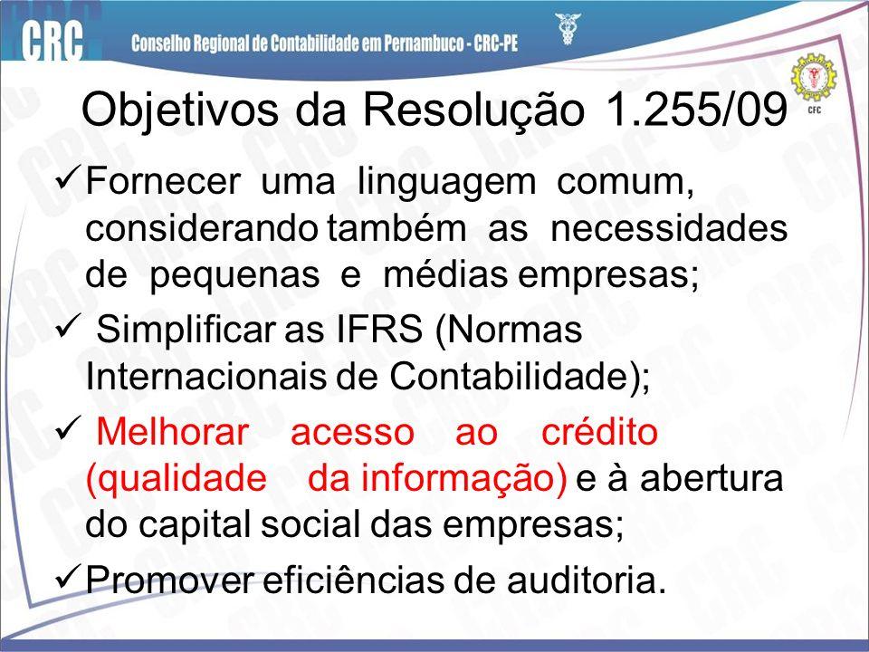 Objetivos da Resolução 1.255/09