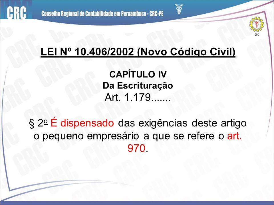 LEI Nº 10.406/2002 (Novo Código Civil) CAPÍTULO IV Da Escrituração Art.