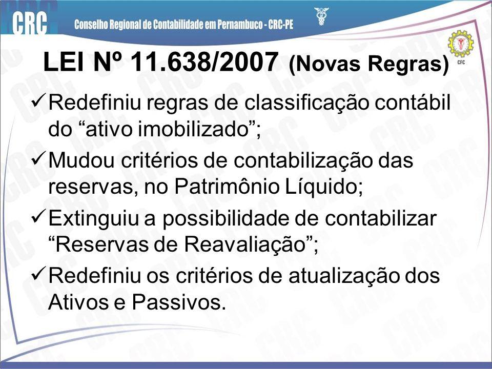 LEI Nº 11.638/2007 (Novas Regras) Redefiniu regras de classificação contábil do ativo imobilizado ;