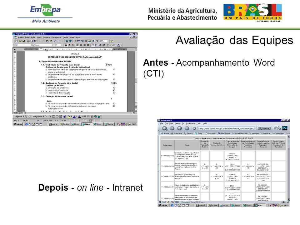 Avaliação das Equipes Antes - Acompanhamento Word (CTI)
