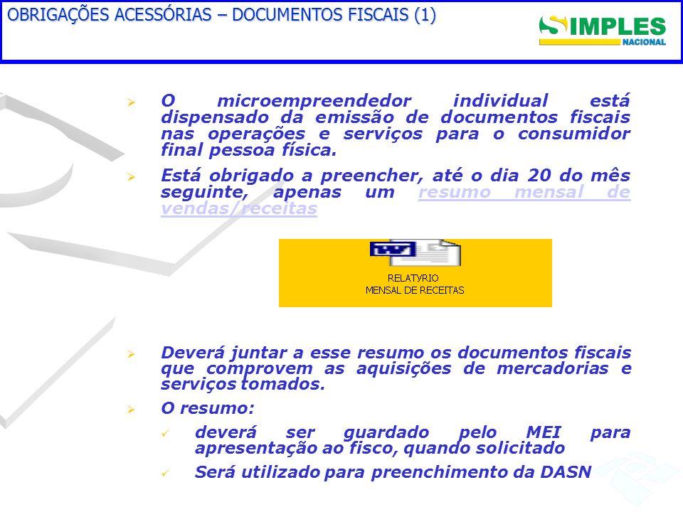 OBRIGAÇÕES ACESSÓRIAS – DOCUMENTOS FISCAIS (1)