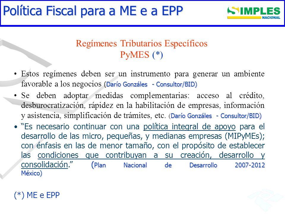 Regímenes Tributarios Específicos PyMES (*)