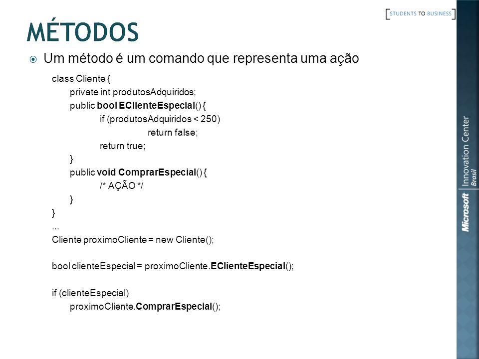 Métodos Um método é um comando que representa uma ação class Cliente {