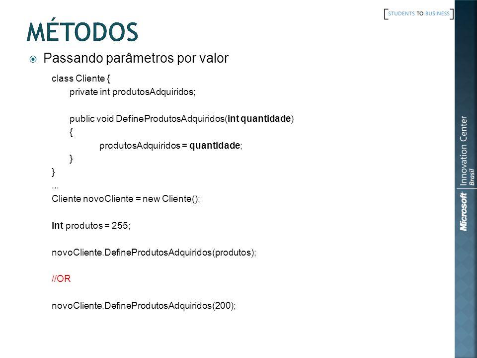 Métodos Passando parâmetros por valor class Cliente {