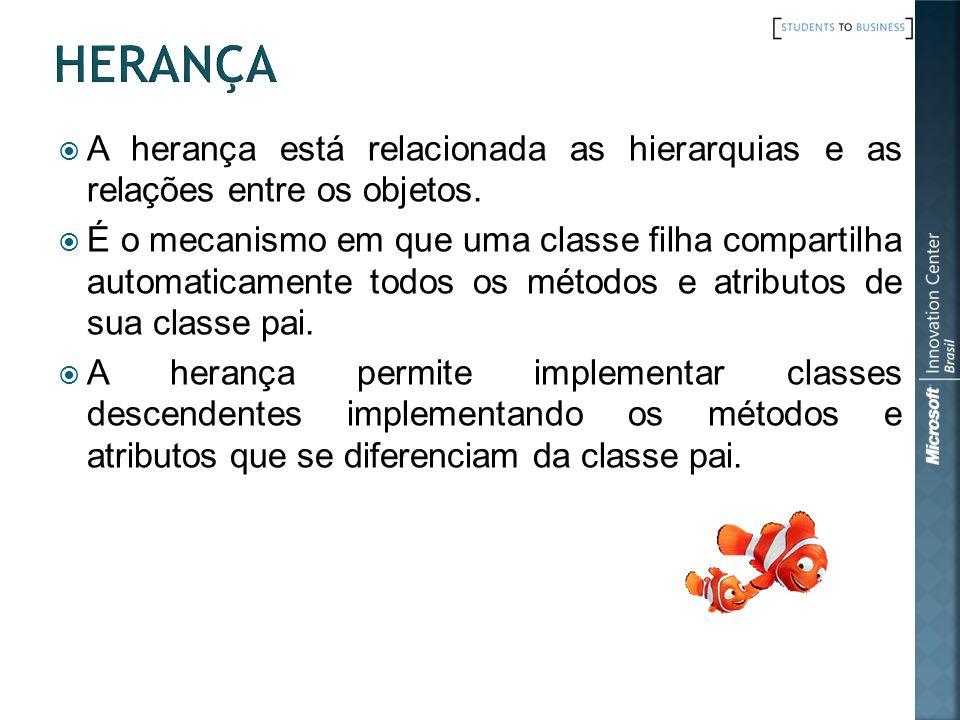 Herança A herança está relacionada as hierarquias e as relações entre os objetos.