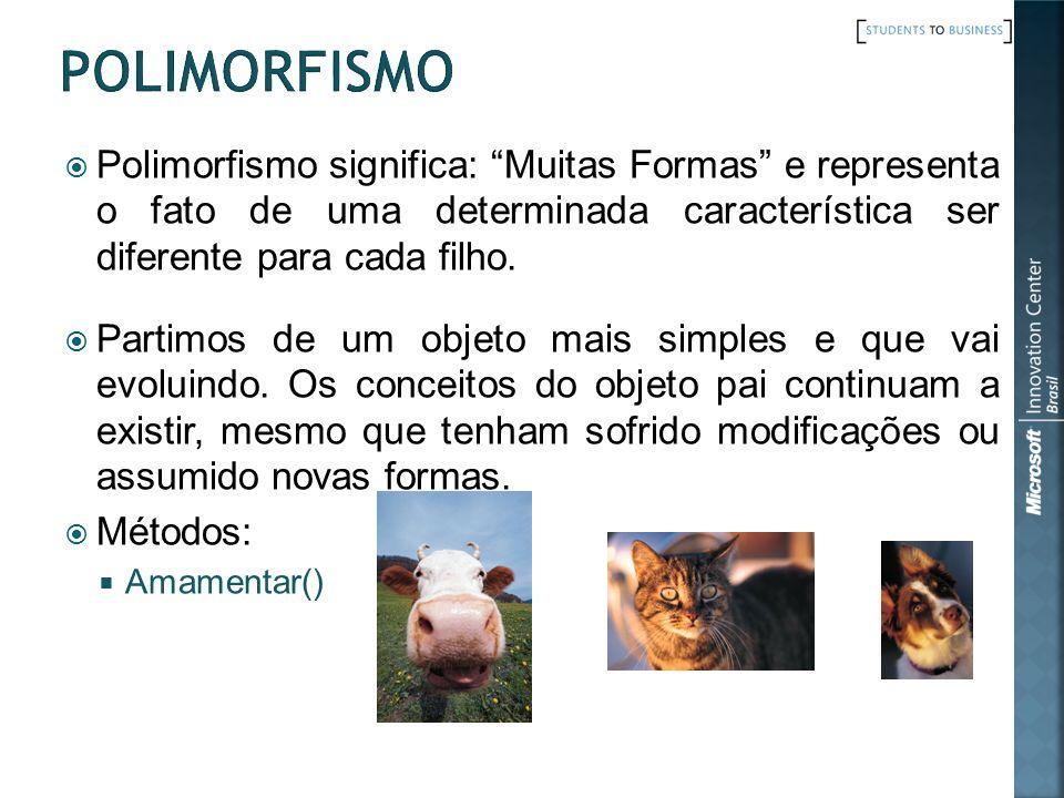 Polimorfismo Polimorfismo significa: Muitas Formas e representa o fato de uma determinada característica ser diferente para cada filho.