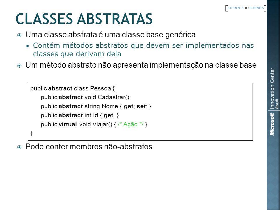 Classes Abstratas Uma classe abstrata é uma classe base genérica