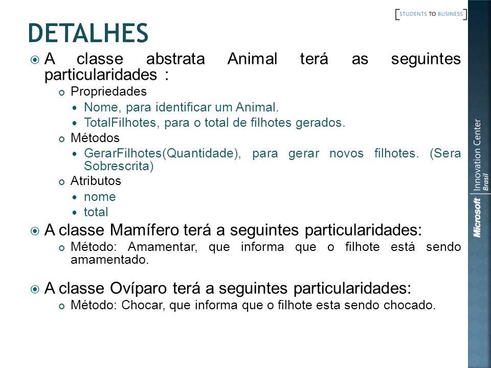 Detalhes A classe abstrata Animal terá as seguintes particularidades :