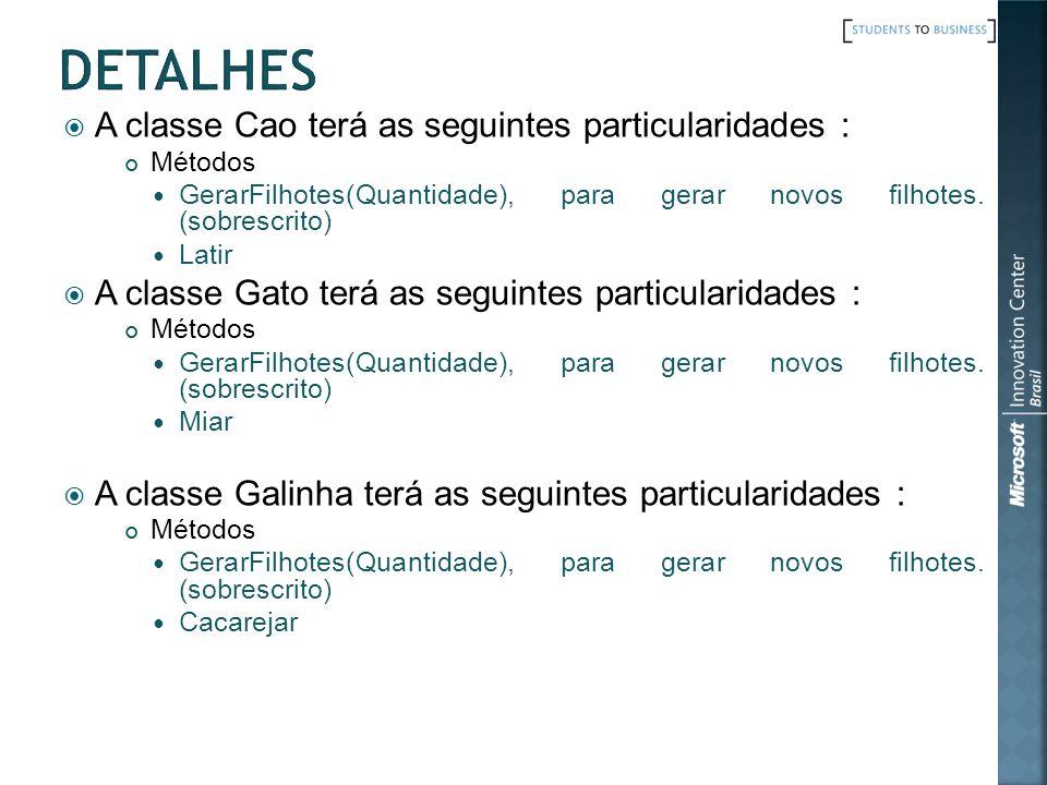 Detalhes A classe Cao terá as seguintes particularidades :