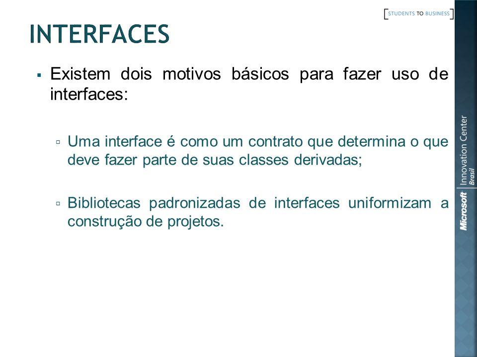 Interfaces Existem dois motivos básicos para fazer uso de interfaces: