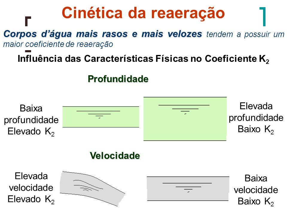 Cinética da reaeração Corpos d'água mais rasos e mais velozes tendem a possuir um maior coeficiente de reaeração.