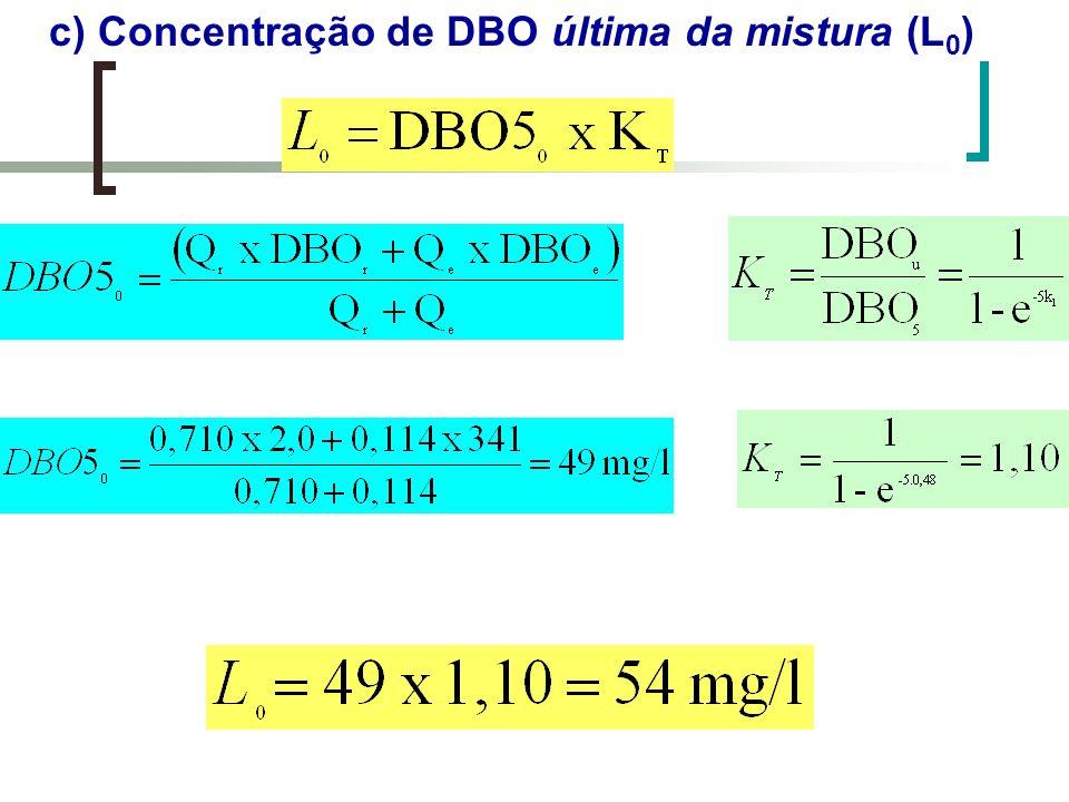 c) Concentração de DBO última da mistura (L0)